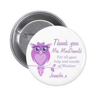 Owl purple teacher thank you button badge