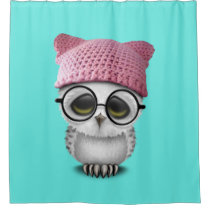 owl pussy hat shower curtain