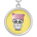 owl pussy hat silver plated necklace