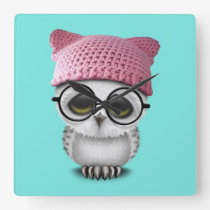 owl pussy hat square wall clock
