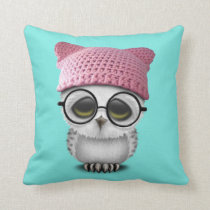 owl pussy hat throw pillow