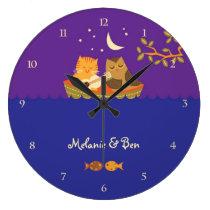 Owl & Pussycat (Purple and Blue) Large Clock