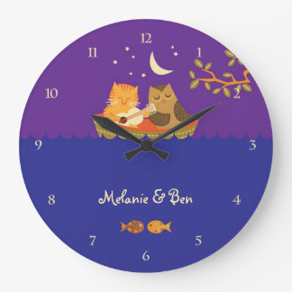 Owl & Pussycat (Purple and Blue) Large Clock