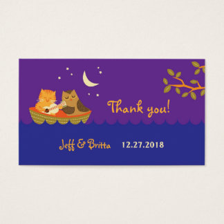 Owl & Pussycat (Purple) Wedding Favor Tags Business Card