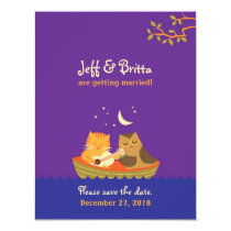 Owl & Pussycat Save the Date (Purple and Blue) Card