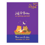 😻  Owl & Pussycat Save the Date (Purple and Blue) Invitation