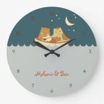 Owl & Pussycat (Sea Blue) Large Clock