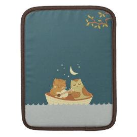 Owl & Pussycat (Sea Blue) Personalized iPad Sleeve