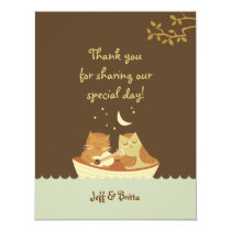 Owl & Pussycat Storybook Wedding (Blue and Brown) Card