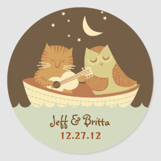 Owl & Pussycat Storybook Wedding (Blue and Brown) Classic Round Sticker