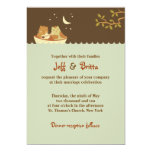 😻 Owl & Pussycat Storybook Wedding (Blue and Brown) Invitation