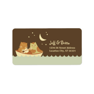 Owl & Pussycat Storybook Wedding (Blue and Brown) Label