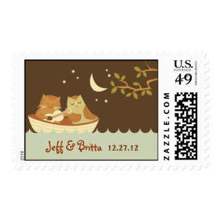Owl & Pussycat Storybook Wedding (Blue and Brown) Postage