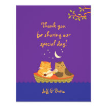 Owl & Pussycat Storybook Wedding (Purple and Blue) Card