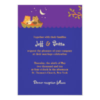 Owl & Pussycat Storybook Wedding (Purple and Blue) Invitation