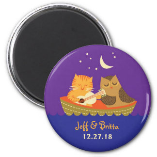 Owl & Pussycat Storybook Wedding (Purple and Blue) Magnet