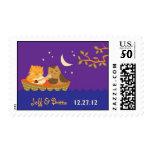 Owl & Pussycat Storybook Wedding (Purple and Blue) Postage