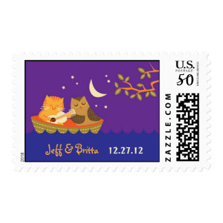 Owl & Pussycat Storybook Wedding (Purple and Blue) Postage