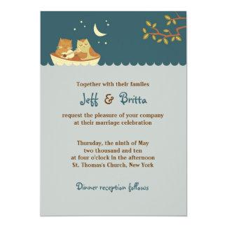 Owl & Pussycat Storybook Wedding (Sea Blue) Card