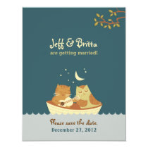 Owl & Pussycat Storybook Wedding (Sea Blue) Card