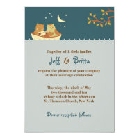 Owl & Pussycat Storybook Wedding (Sea Blue) Invitation