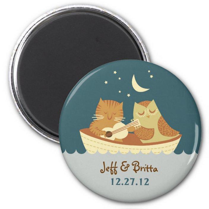 Owl & Pussycat Storybook Wedding (Sea Blue) Magnet | Zazzle.com
