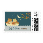 Owl & Pussycat Storybook Wedding (Sea Blue) Postage
