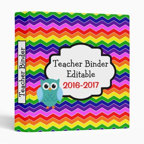 Owl Rainbow Chevron Custom Teacher Binder