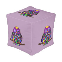 Owl Rainbow Pouf