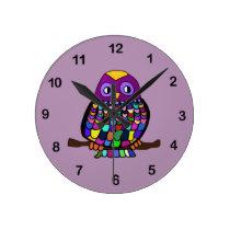 Owl Rainbow Round Clock