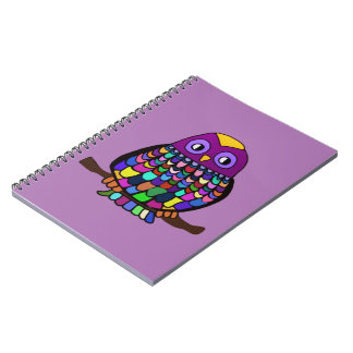 Owl Rainbow Spiral Notebook