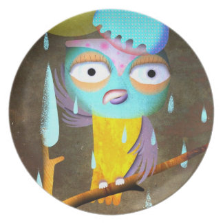 Owl raining Plate