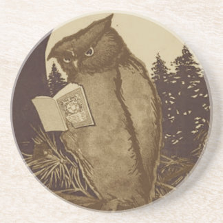 Owl Reading a Book Beverage Coaster