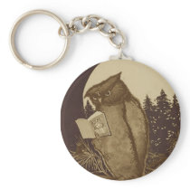 Owl  Reading by Moonlight Keychain