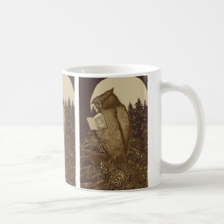 Owl  Reading by Moonlight Coffee Mugs