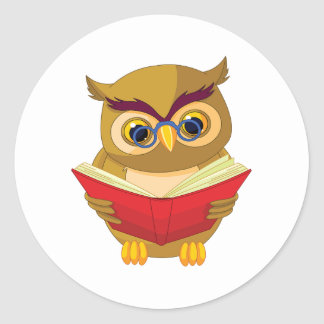 Owl Reading Classic Round Sticker