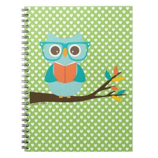 Owl Reading Spiral Notebook