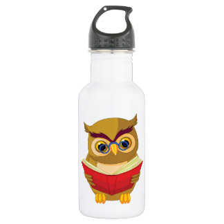 Owl Reading Stainless Steel Water Bottle