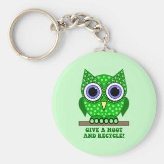owl recycle keychain