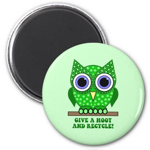 owl recycle refrigerator magnets