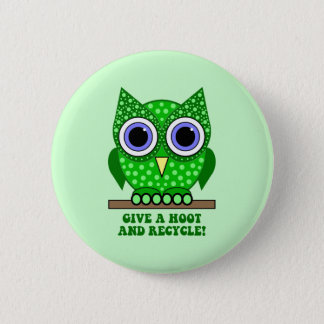 owl recycle pinback button