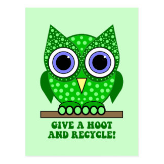 owl recycle postcards