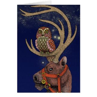 Owl reindeer card