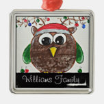 owl reindeer square metal christmas ornament