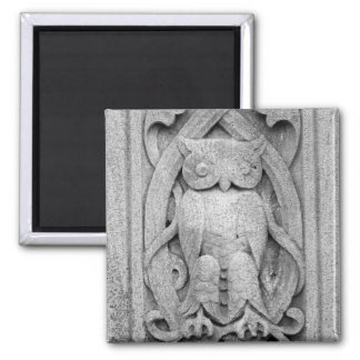 Owl Relief 2 Inch Square Magnet