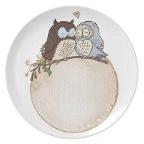 owl, retro, elegant dinner plate
