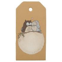 owl, retro, elegant wooden gift tags