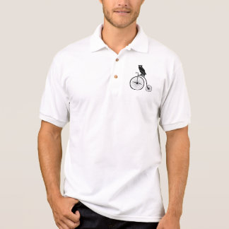 Owl Riding a Penny Farthing Bicycle Polo Shirt