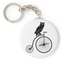 Owl Riding Vintage Bike Keychain