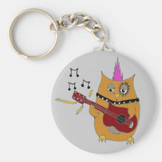 Owl Right Now Baby Rocker Owl Basic Round Button Keychain